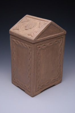 handmade slab built ceramic stoneware cremation urns, funeral urns or funerary urns